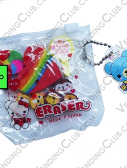 CLAVE 538 <br><strong>ERASERS KIT BAG </strong><br>12 PIEZAS