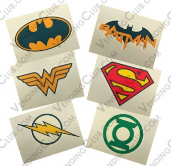 CLAVE 617 <br><strong>DC COMICS LOGO TATTOOS </strong><br>120 PIEZAS