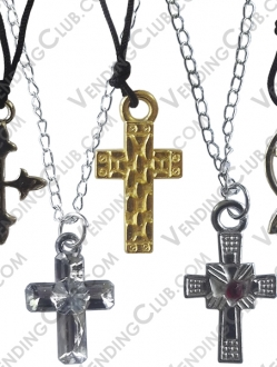 CLAVE 357 <br><strong>CROSS NECKLACES </strong><br>100 PIEZAS